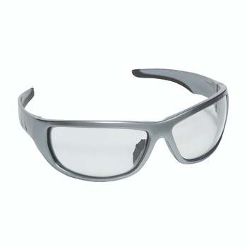 E03S10 AGGRESSOR  DARK SILVER FRAME  CLEAR LENS  TPR NOSE PIECE & TEMPLES Cordova Safety Products