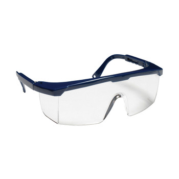 EJN10S RETRIEVER  BLUE FRAME  CLEAR LENS WITH INTEGRATED SIDE SHIELDS  ADJUSTABLE TEMPLES Cordova Safety Products