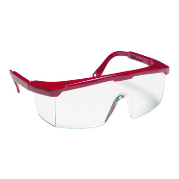 EJR10S RETRIEVER  RED FRAME  CLEAR LENS WITH INTEGRATED SIDE SHIELDS  ADJUSTABLE TEMPLES Cordova Safety Products