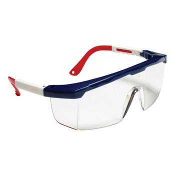 EJNWR10S RETRIEVER  RED  WHITE & BLUE FRAME  CLEAR LENS WITH INTEGRATED SIDE SHIELDS  ADJUSTABLE TEMPLES Cordova Safety Products