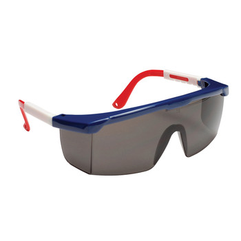 EJNWR20S RETRIEVER  RED  WHITE & BLUE FRAME  GRAY LENS WITH INTEGRATED SIDE SHIELDS  ADJUSTABLE TEMPLES Cordova Safety Products