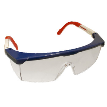 EMNWR10S RETRIEVER II  RED  WHITE & BLUE FRAME  CLEAR LENS WITH INTEGRATED SIDE SHIELDS  5-POSITION RATCHET  EXTENDABLE TEMPLES Cordova Safety Products