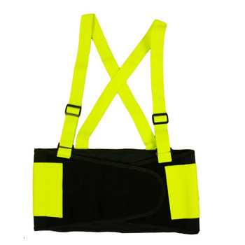 SB100L HI-VIS LIME BACK SUPPORT BELT WITH ATTACHED SUSPENDERS  LIME QUICK ADJUST ELASTIC OUTER PANELS Cordova Safety Products