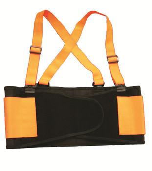 SB200M HI-VIS ORANGE BACK SUPPORT BELT WITH ATTACHED SUSPENDERS  ORANGE QUICK ADJUST ELASTIC OUTER PANELS Cordova Safety Products