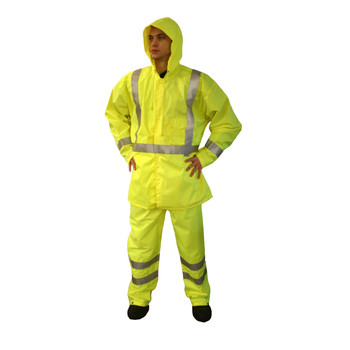 R3GWL REPTYLE  CLASS E RAIN PANTS  LIME 300D POLYESTER/PU FABRIC  3M REFLECTIVE TAPE  ELASTIC WAIST WITH DRAWSTRING  ANKLE SNAPS Cordova Safety Products