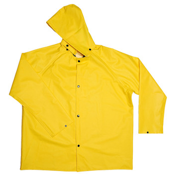 R8022FRJS DEFIANCE FR  .28 MM PVC/NYLON/PVC  YELLOW 2-PIECE RAIN JACKET  LIMITED FLAME RESISTANT  STORM FLY FRONT WITH SNAP BUTTONS  DETACHABLE HOOD Cordova Safety Products