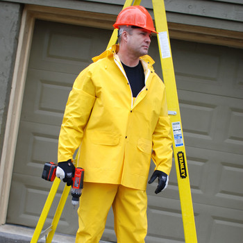 R9023FRXL STORMFRONT FR  .35 MM PVC/POLYESTER  YELLOW 3-PIECE RAIN SUIT  LIMITED FLAME RESISTANT  STORM FLY FRONT WITH ZIPPER/SNAP BUTTONS  BIB PANTS WITH SUSPENDERS  DETACHABLE HOOD Cordova Safety Products