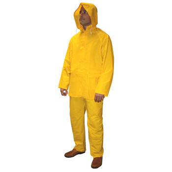 R9123YM STRATUS  .30 MM PVC/POLYESTER  YELLOW 3-PIECE RAIN SUIT  SNAP BUTTONS  BIB-STYLE PANTS WITH SUSPENDERS  DETACHABLE HOOD Cordova Safety Products