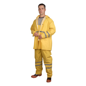 HV353YL RIPTIDE .35 MM PVC/POLYESTER  YELLOW  3-PIECE RAIN SUIT  SILVER REFLECTIVE STRIPES  STORM FLY FRONT WITH ZIPPER/SNAP BUTTONS  BIB PANTS WITH SUSPENDERS  DETACHABLE HOOD Cordova Safety Products