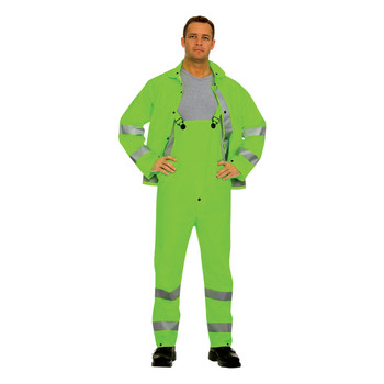 HV353GM RIPTIDE .35 MM PVC/POLYESTER  HI-VIS LIME  3-PIECE RAIN SUIT  SILVER REFLECTIVE STRIPES  STORM FLY FRONT WITH ZIPPER/SNAP BUTTONS  BIB PANTS WITH SUSPENDERS  DETACHABLE HOOD Cordova Safety Products