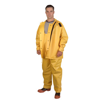 RSHB352YL JETSTREAM  .30 MM PVC/POLYESTER/PVC  YELLOW 3-PIECE HYDROBLAST SUIT  HOOK & LOOP CLOSURES AT ALL OPENINGS  ZIPPER/SNAP BUTTONS  BIB PANTS WITH SUSPENDERS  THROAT GUARD  ATTACHED HOOD Cordova Safety Products