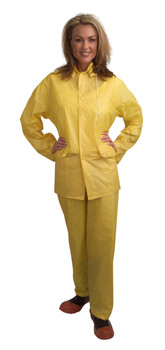 RS103YS VALUE-LINE  .10 MM PVC  YELLOW 3-PIECE RAIN SUIT  OPEN FRONT WITH SNAP BUTTONS  ELASTIC WAIST PANTS  DETACHABLE HOOD Cordova Safety Products