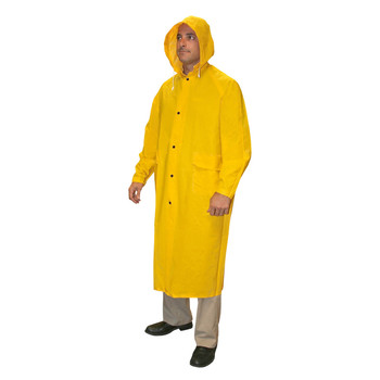 "RC35Y3XL RENEGADE  .35 MM PVC/POLYESTER  YELLOW  2-PIECE RAIN COAT  CORDUROY COLLAR  STORM FLY FRONT WITH SNAP BUTTONS  VENTILATED BACK/UNDERARMS  49"" LENGTH  DETACHABLE HOOD Cordova Safety Products"
