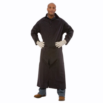 "RC35BM RENEGADE  .35 MM PVC/POLYESTER  BLACK  2-PIECE RAIN COAT  CORDUROY COLLAR  STORM FLY FRONT WITH SNAP BUTTONS  VENTILATED BACK/UNDERARMS  49"" LENGTH  DETACHABLE HOOD Cordova Safety Products"