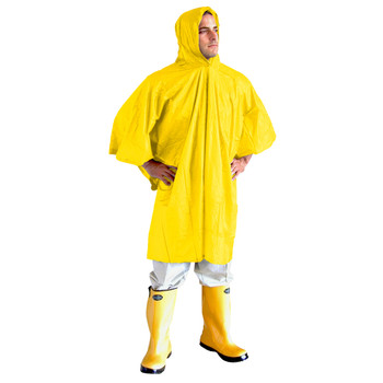 """RP10B VALUE-LINE  .10 MM SINGLE-PLY PVC PONCHO  ATTACHED HOOD & DRAWSTRING  BLUE  SIZE 52""""X 80"""" Cordova Safety Products"""