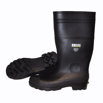 PB2208 BLACK BOOT WITH BLACK PVC SOLE  EVA INSOLE  STEEL TOE  COTTON LINED  16-INCH LENGTH  OVER-THE-SOCK STYLE  SIZE 8 Cordova Safety Products