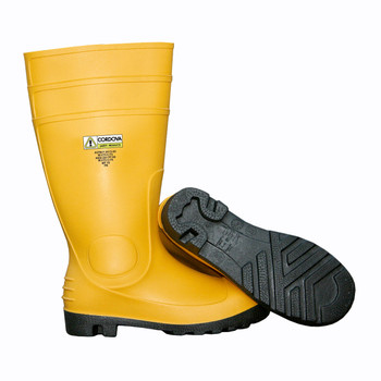 PB3307 YELLOW PVC/NITRILE BOOT WITH BLACK PVC/NITRILE SOLE  EVA INSOLE  STEEL TOE & MIDSOLE  COTTON LINED  16-INCH LENGTH  OVER-THE-SOCK STYLE  SIZE 7 Cordova Safety Products