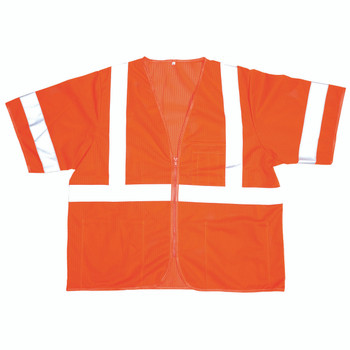 V30003XL COR-BRITE  CLASS III  ORANGE MESH VEST  ZIPPER CLOSURE  2-INCH SILVER REFLECTIVE TAPE  POCKETS/TWO INSIDE LOWER  ONE OUTSIDE LOWER  CHEST WITH 4-DIVISION PEN POCKET Cordova Safety Products