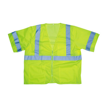 V3001M COR-BRITE  CLASS III  LIME MESH VEST  ZIPPER CLOSURE  2-INCH SILVER REFLECTIVE TAPE  POCKETS/TWO INSIDE LOWER  ONE OUTSIDE LOWER  CHEST WITH 4-DIVISION PEN POCKET Cordova Safety Products