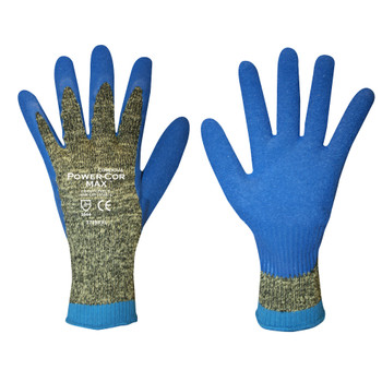 3736S POWER-COR MAX   10-GAUGE ARAMID/STEEL/COTTON  BLUE LATEX PALM COATING  ANSI CUT LEVEL 4 Cordova Safety Products