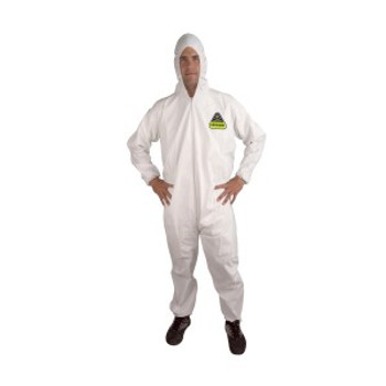 CPHM DEFENDER  WHITE MICROPOROUS COVERALL WITH HOOD  ZIPPER FRONT  ELASTIC AT HOOD  WRISTS & ANKLES Cordova Safety Products