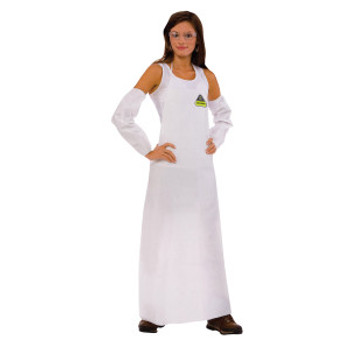 """CPA28 DEFENDER  WHITE MICROPOROUS APRONS  BOUND NECK & TIES  28"""" X 46"""" Cordova Safety Products"""