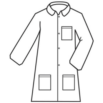 MPLAB2002XL DEFENDER II   WHITE MICROPOROUS LABCOAT WITH 4-SNAP FRONT & COLLAR  3 POCKETS  OPEN WRISTS Cordova Safety Products