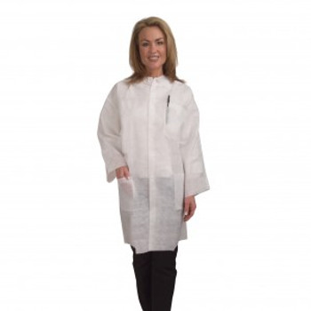 LC55EPL HEAVY WEIGHT  WHITE POLYPROPYLENE LAB COAT  COLLAR & SNAP BUTTON FRONT  2 WAIST POCKETS  ELASTIC AT WRISTS Cordova Safety Products