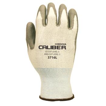3716L CALIBER  WHITE 13-GAUGE HPPE SHELL  GRAY POLYURETHANE PALM COATING  ANSI CUT LEVEL 2 Cordova Safety Products