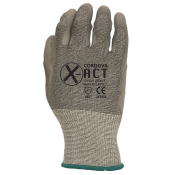 3733S X-ACT  18-GAUGE  HPPE/STEEL  GRAY POLYURETHANE PALM COATING  ANSI CUT LEVEL 2 Cordova Safety Products