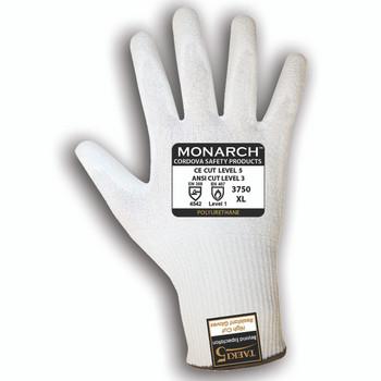 3750M MONARCH-PU /13-GAUGE  WHITE TAEKI5 SHELL  WHITE POLYURETHANE PALM COATING  ANSI CUT LEVEL 3 Cordova Safety Products