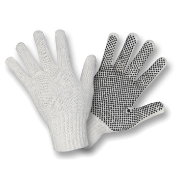 3802S 100% COTTON   ECONOMY WEIGHT  NATURAL  MACHINE KNIT  1-SIDE PVC DOTS & FINGER TIPS Cordova Safety Products