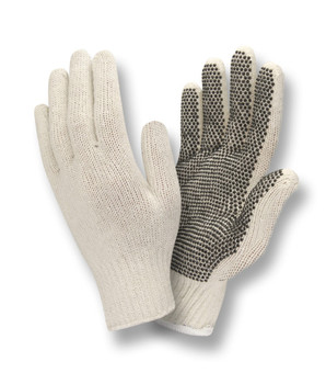 3805L/P STANDARD WEIGHT  NATURAL  POLY/COTTON MACHINE KNIT  1-SIDE PVC DOTS Cordova Safety Products