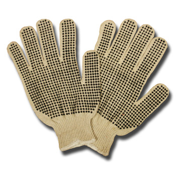 3853L 13-GAUGE LIGHTWEIGHT  NATURAL  POLY/COTTON MACHINE KNIT  2-SIDE PVC DOTS Cordova Safety Products