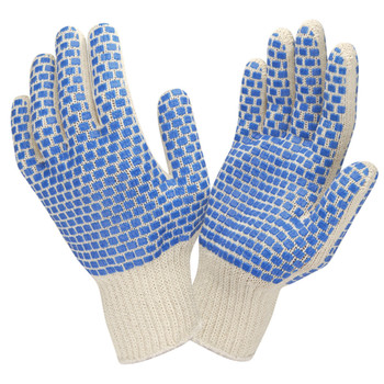 3880S MEDIUM WEIGHT  NATURAL  POLY/COTTON MACHINE KNIT  2-SIDE BLUE PVC BLOCKS Cordova Safety Products