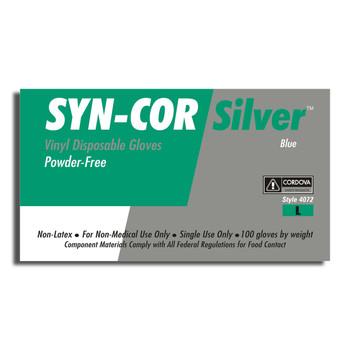 4072L SYN-COR BLUE  VINYL  INDUSTRIAL GRADE  POWDER FREE Cordova Safety Products