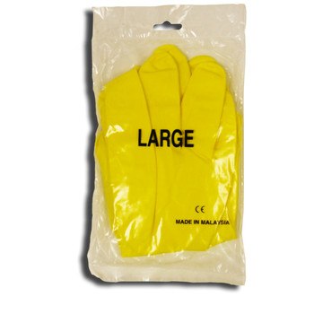 4254M YELLOW FLOCK LINED-LATEX  ROLLED CUFF  ONE PAIR/POLYBAG  LIGHTWEIGHT Cordova Safety Products