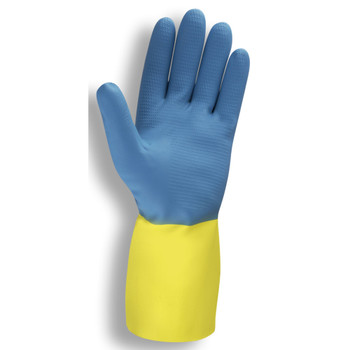 4300 BLUE/YELLOW  NEOPRENE ON LATEX  FLOCK-LINED  STRAIGHT CUFF  28-MIL Cordova Safety Products