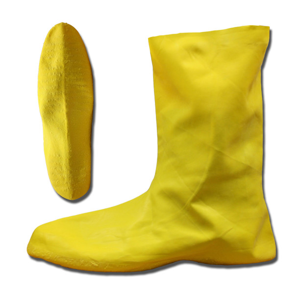LBC10M HAZMAT/NUKE BOOTS  .75 MM. NATURAL RUBBER  YELLOW  UNLINED  12-INCH LENGTH  RIBBED/TEXTURED SOLE Cordova Safety Products