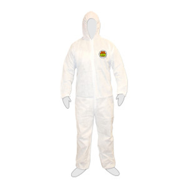 SMS3002XL C-MAX  WHITE SMS COVERALL WITH HOOD  ZIPPER FRONT  ELASTIC WAIST  WRISTS  ANKLES & HOOD Cordova Safety Products