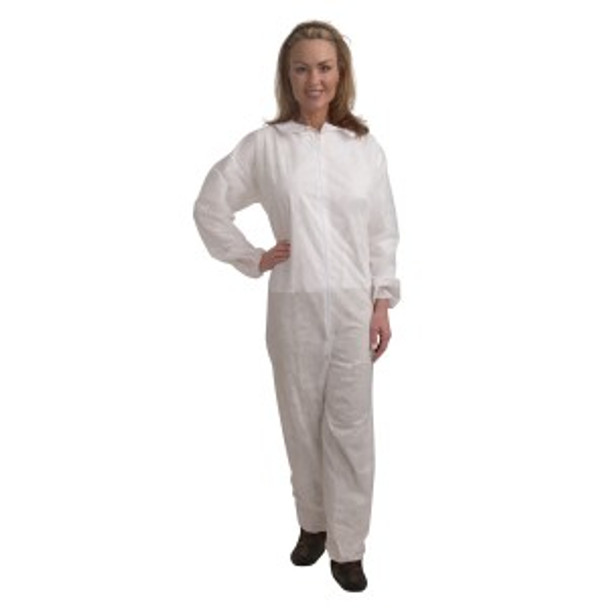 CO35M STANDARD WEIGHT  WHITE POLYPROPYLENE COVERALL  ZIPPER FRONT AND COLLAR  ELASTIC WRISTS & ANKLES Cordova Safety Products