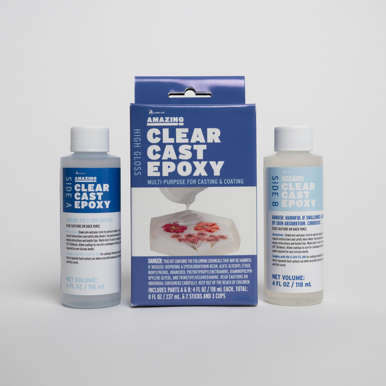 Alumilite's Amazing Clear Cast epoxy resin in two 4 ounce bottles with a box