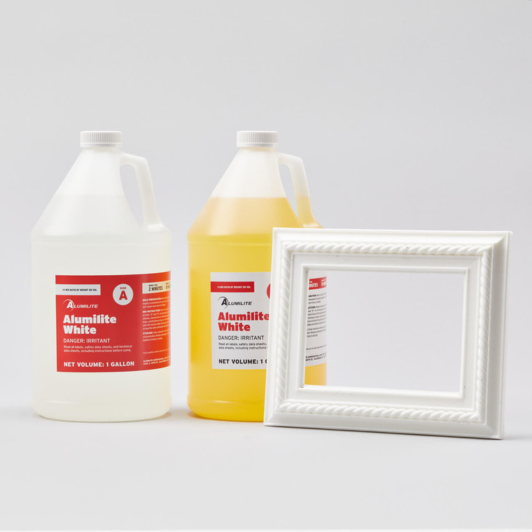 Alumilite White resin in two 1-gallon sized bottles with white resin picture frame