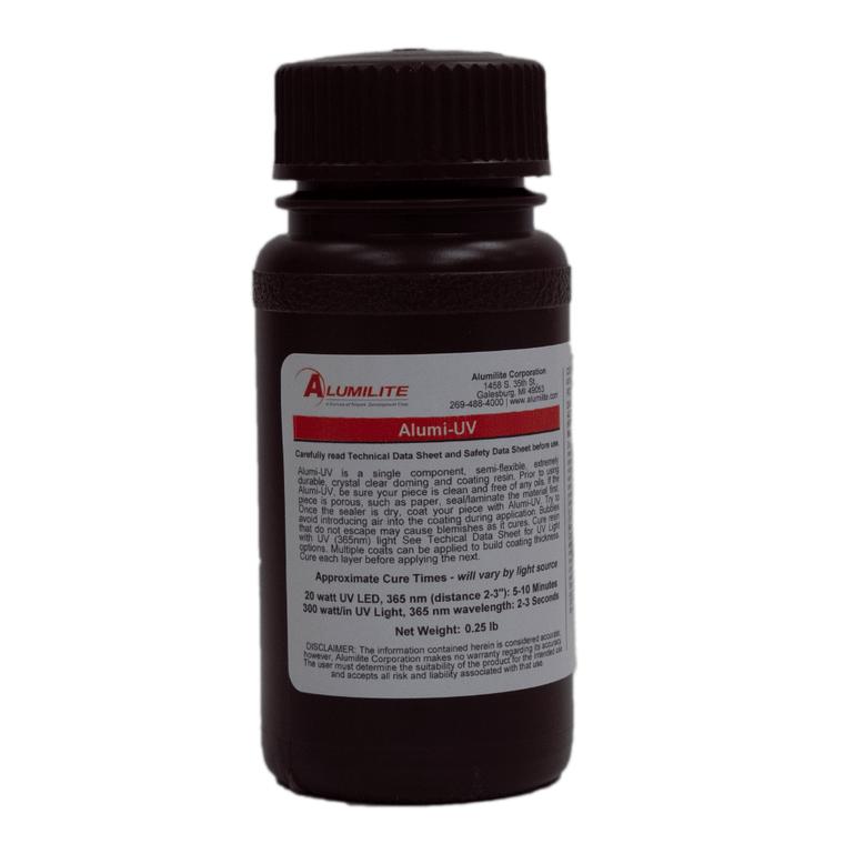 Alumilite's Alumi-UV in a brown .25 pound bottle