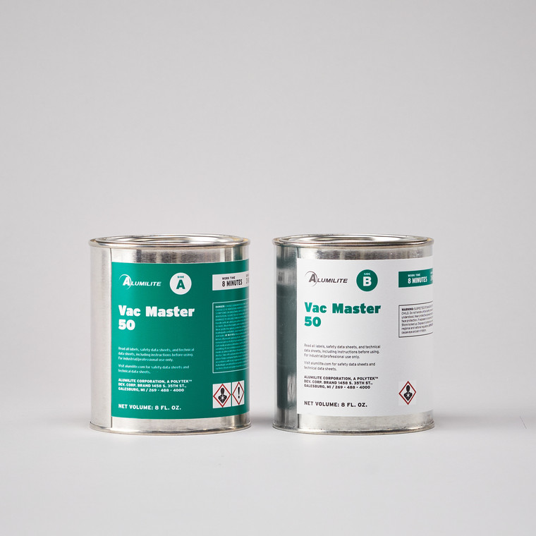 Alumilite's Vac Master 50 urethane resin in two silver paint can buckets