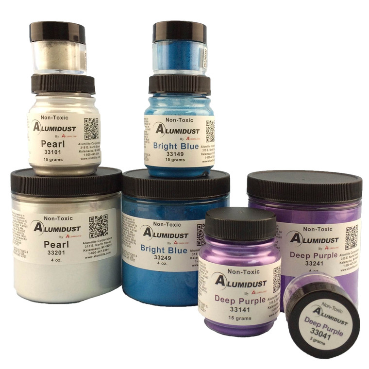 Alumilite's Alumidust mica powder in various colors and sizes