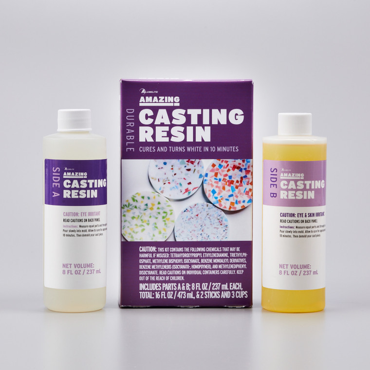 Alumilite's Amazing Casting Resin in two 8 ounce bottles in front of a purple product box