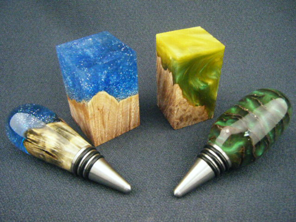 clear resin with powder and dyes wine stoppers