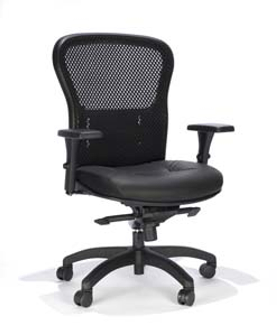 Mesh Ergonomic Office Chair Mesh Back Leather Seat 162