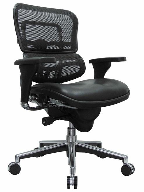 Ergohuman Leather Seat/Mesh Mid-Back Swivel Chair GGF-LEM6ERGLO
